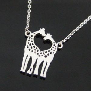 "Jewelry - Giraffe Heart Necklace, Silver Plated Pendant 16"""